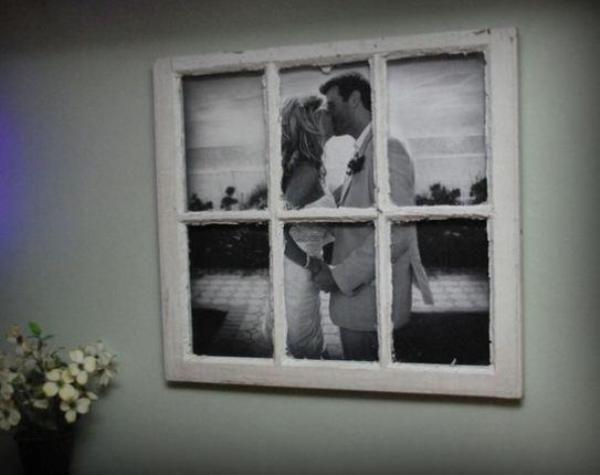 creative photo frame using an old window