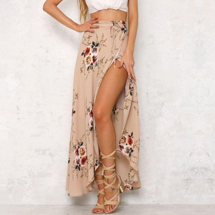 2017 Fashion Bohemian Flower Print Split ends Flare Maxi Skirt
