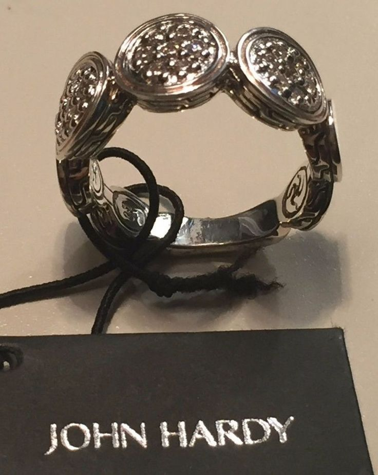John Hardy Diamond Sterling Silver Dot Band Ring Size 7 NWT $995.00 #JohnHardy #band