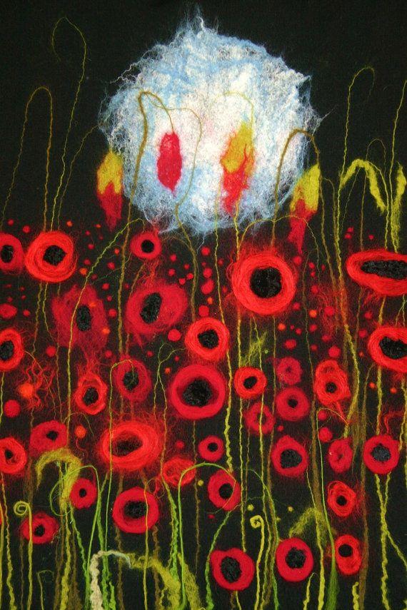Poppy moon beautiful handmade felted art