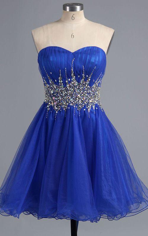 Royal Blue Mini Strapless Sleeveless Sweetheart Tulle A Line Short Homecoming Dress