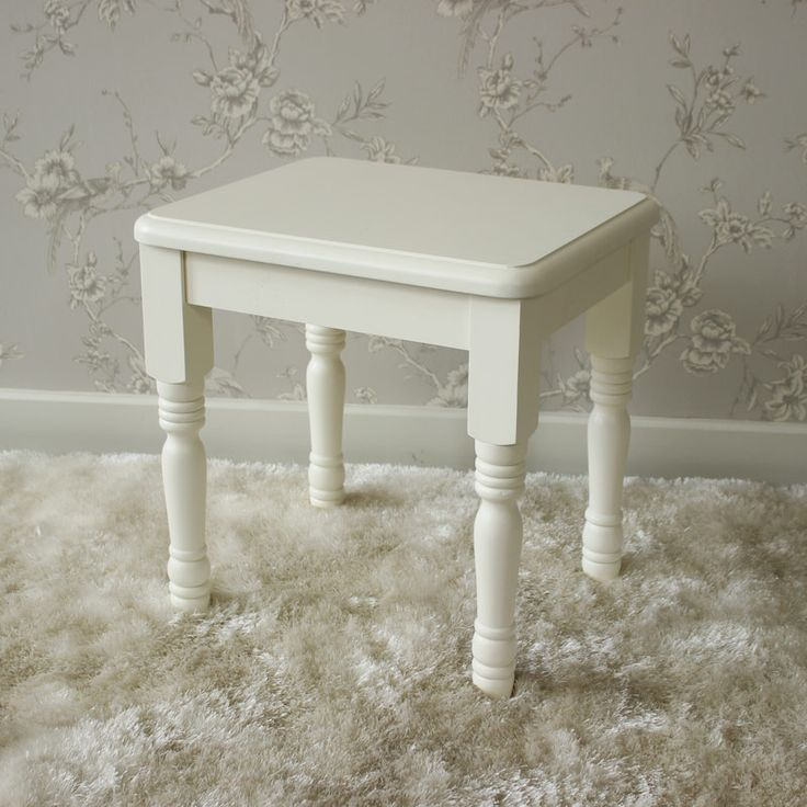Canterbury Range - Cream Dressing Table Stool A simply beautiful cream dressing table stool with turned detailing on the legs Made from wood and painted in a rich cream colour The perfect addition to our Canterbury Range  Could also be used as a side table www.melodymaison.co.uk