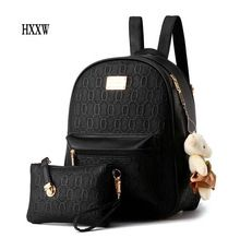 2016 NEW Fashion Designed Brand Backpack Women Backpack Leather School Bag Women Casual Style Backpacks + Small Bags H098
