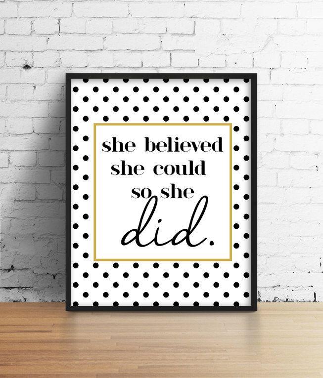 Black And Gold Motivational Poster. She by SamsSimpleDecor on Etsy