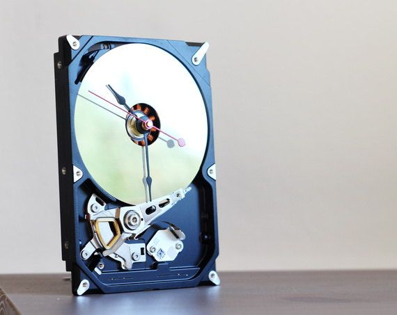 Desk clock from a recycled Computer hard drive  HDD by ReComputing, $35.00