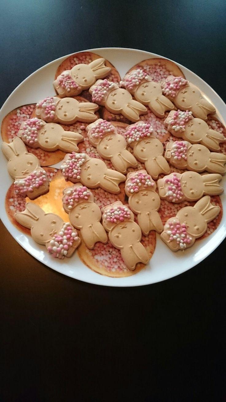 Traktatie voor pasgeboren broertje of zusje. Nijntje koekjes met glazuur en muisjes.