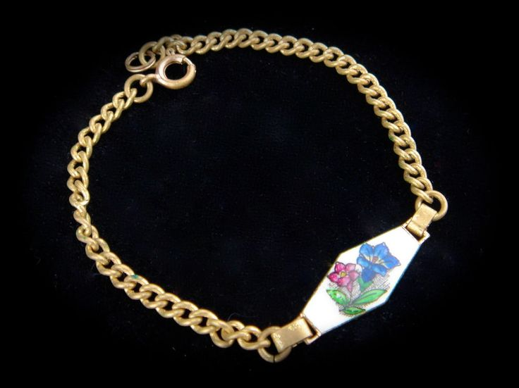 Vintage Antique Enamel Porcelain Miniature Bracelet Flowers Gold Tone Panel Old #Unbranded #Floral