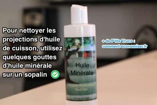 J'ai trouvé une astuce pour facilement nettoyer les éclaboussures dans la cuisine. L'astuce est d'utiliser quelques gouttes d'huile minérale sur du sopalin. Regardez :-)  Découvrez l'astuce ici : http://www.comment-economiser.fr/meilleure-astuce-pour-nettoyer-projections-huile-de-cuisson.html?utm_content=buffer1e7e4&utm_medium=social&utm_source=pinterest.com&utm_campaign=buffer