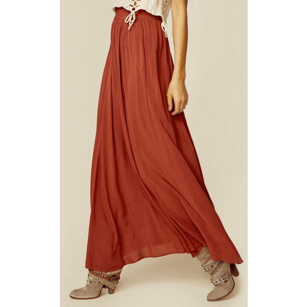 Blue Life Majestic High Waist Skirt ($136) ❤ liked on Polyvore featuring skirts, maxi skirt, orange, orange maxi skirt, long orange skirt, long blue skirt and rayon maxi skirt