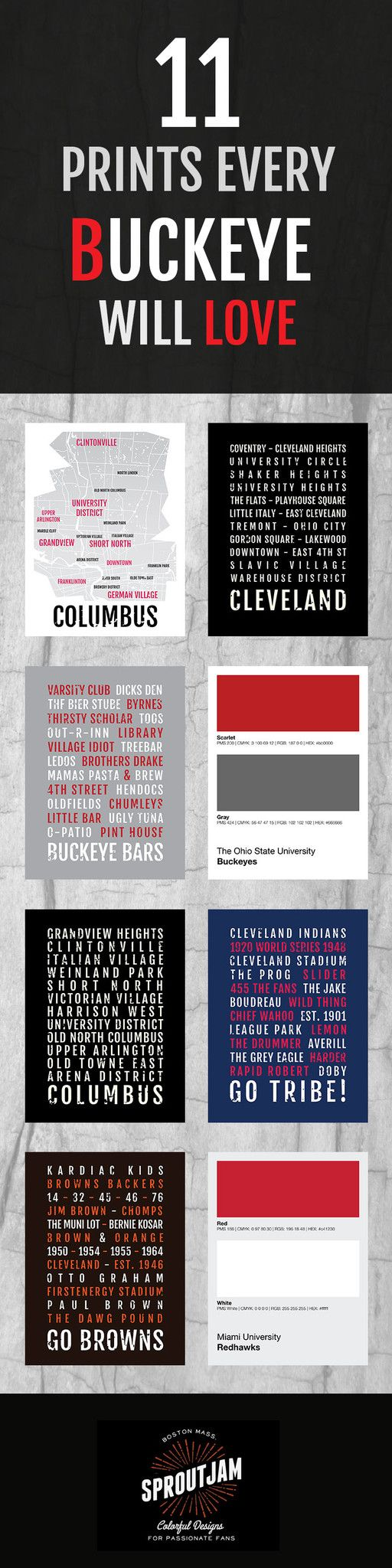 11 Prints Every Buckeye Will Love - Pin for Later! - Perfect Christmas Gift for Ohio State Fans - Posters and Wall Art from Sproutjam.com - Cleveland Indians, Browns, Columbus, Ohio State, Miami University, Kent State, OSU