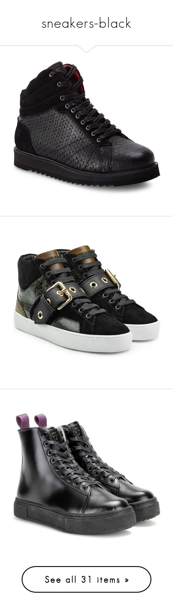 """""""sneakers-black"""" by miralmxdx ❤ liked on Polyvore featuring shoes, sneakers, black, platform shoes, black hi top sneakers, high top sneakers, black platform sneakers, black leather sneakers, green and green high tops"""