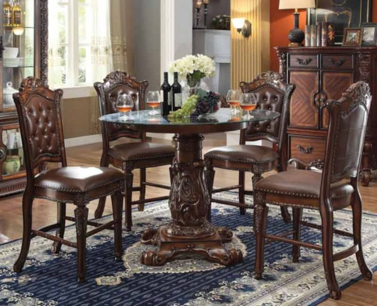 Acme Furniture - Vendome 5 Piece Round Counter Height Table Set in Cherry - 62030-5SET