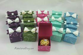 Hallo zusammen, als kleine Gastgeschenke für einen Workshop habe ich eine kleine Schachtel gebastelt in die genau eine Ferrero...