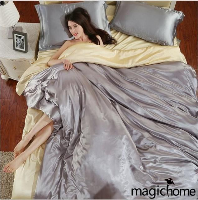 Palace Bohemian Style Bedding Set 100% Silk Luxury Satin New Duvet Cover Sets Queen Twin Size Bed Sheets 4-Piece Black White