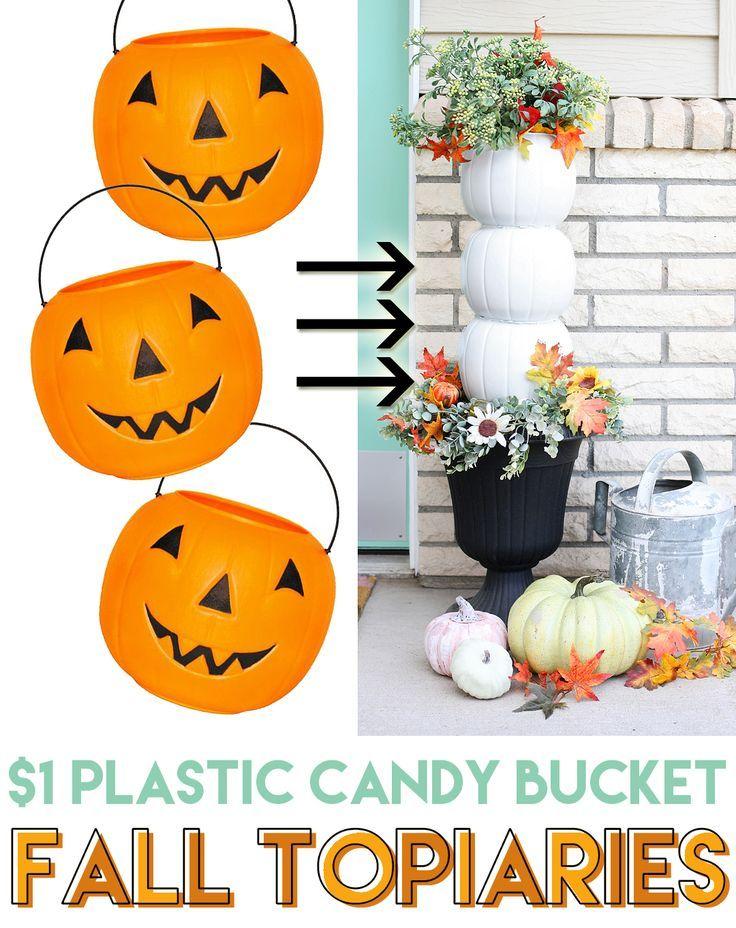 Plastic Pumpkin Candy Bucket Topiaries Crafts  DIY~ Home Decor - halloween decoration rentals