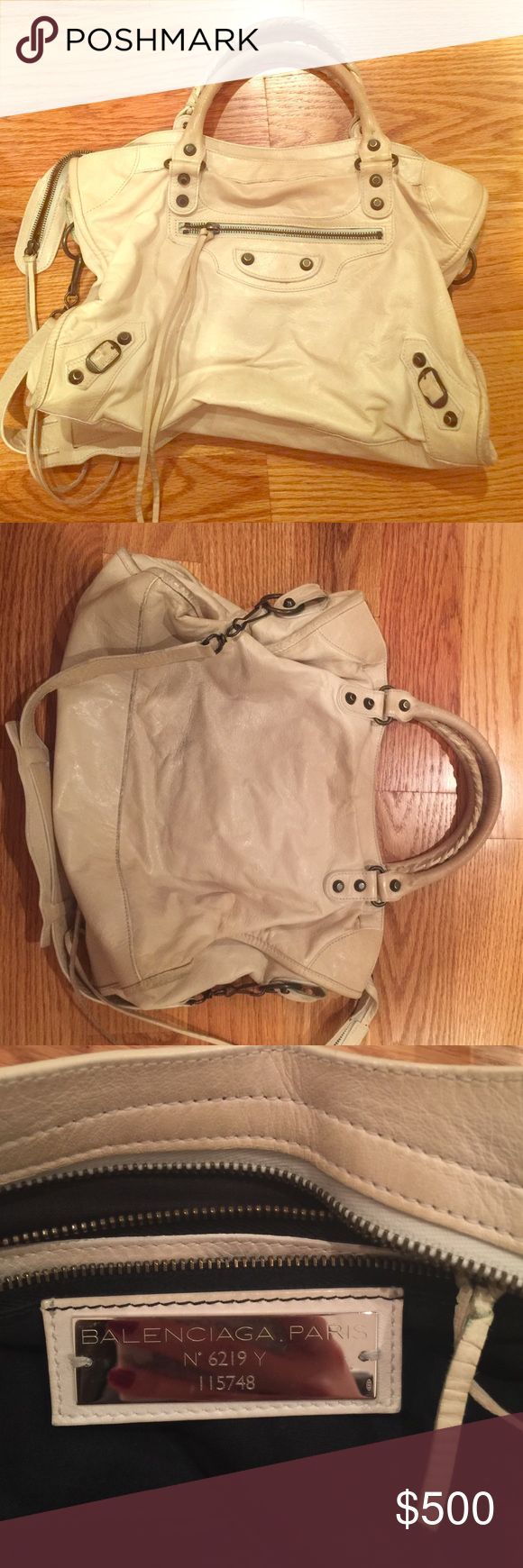 Authentic Balenciaga White Bag Used White Balenciaga Classic Motorcycle Bag. Still in Department Stores and Online Retail Sites like Net-A-Porter, lyst, overstock. comes with original Dust Bag. Balenciaga Bags Totes