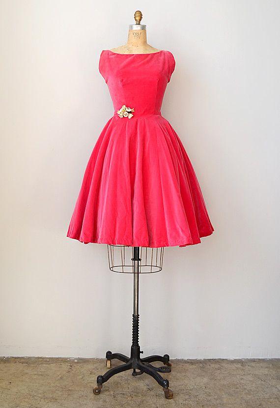 Pink Velvet Dress | vintage 1950s pink velvet party dress [Brightly Inspired Dress] - $128 ...