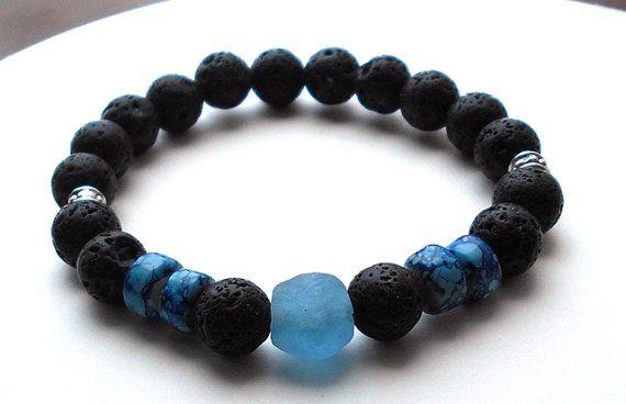 Mens Blue Bracelet Men's Lava Rock Men's Krobo by BlueStoneRiver