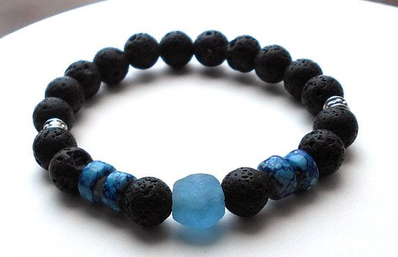 Mens Blue Krobo Stone and Lava Rock Bracelet by BlueStoneRiver, $25.95