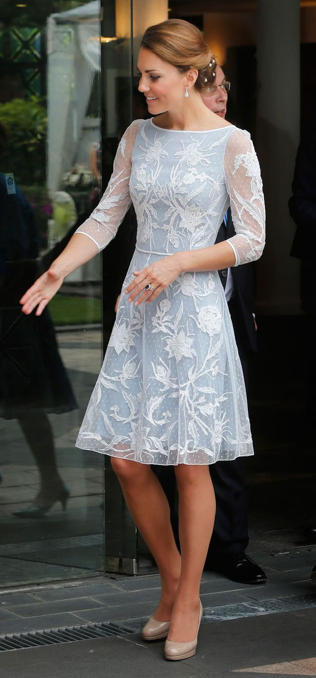 Blue and white lace dress. Love.
