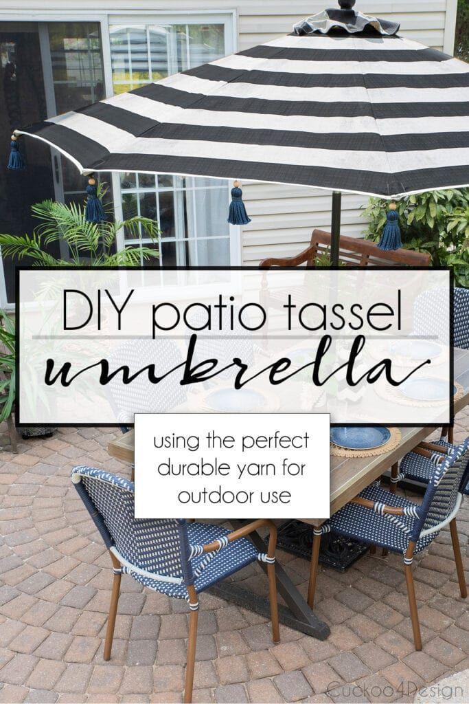 Diy Tassel Umbrella Using Durable Outdoor Yarn Diy Patio Patio