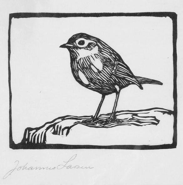 ✨  Johannes Larsen, Danish (1867-1961) - Fugl, træsnit på japanpapir, 13 x 16 cm ::: Bird, woodcut on japan