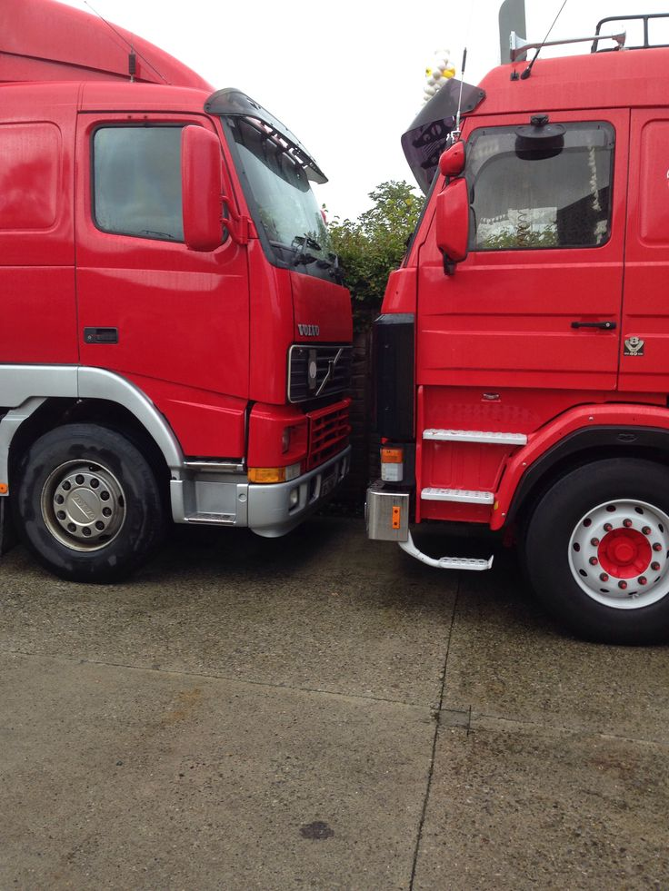 The red Volvo and red Scania had a race