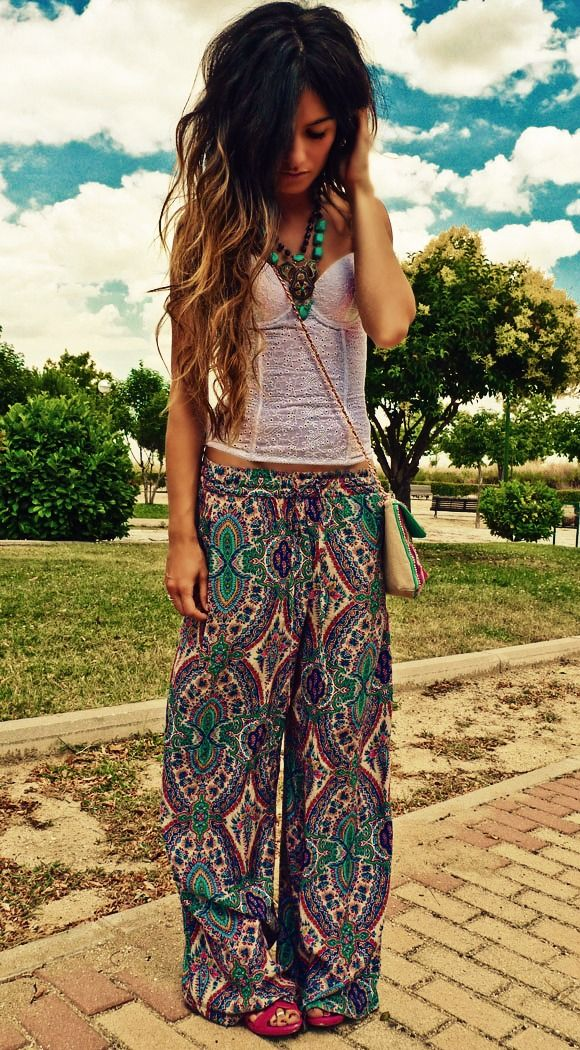 I wanna b boho chic with long ombré hair :(: Boho Chic, Boho Pant, Fashion, Clothes, Hippie Style, Pants, Outfit, Boho Style, Hair