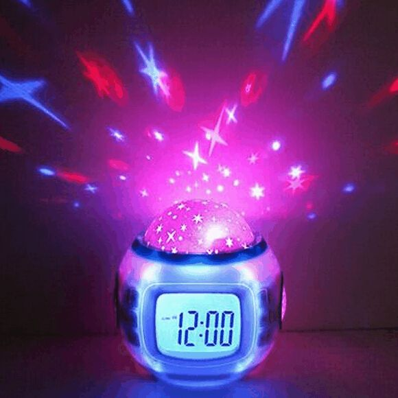 Festina Watches New Children Sleeping Sky Star Night Light Projector Lamp Bedroom Alarm Clock Music ChildS