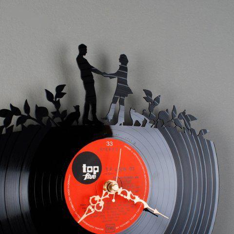 Pavel Sidorenko Old Records Vinyl Wall Clocks Sweet Couple Design