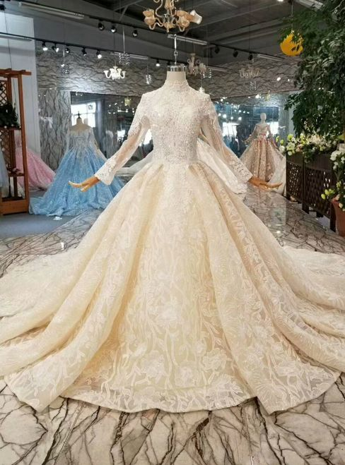 2523c0ff982f6 Chamapgne Ball Gown Tulle Lace High Neck Long Sleeve Wedding Dress