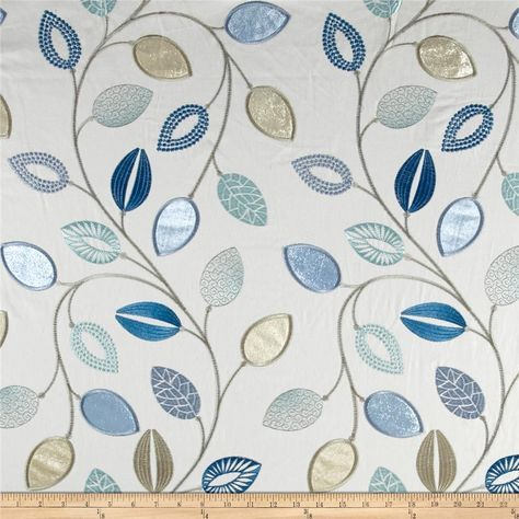 Waverly Leaflet Embroidery Aquarium from @fabricdotcom  This medium/heavyweight cotton duck fabric features embroidered leafs throughout. It is perfect for window treatments (draperies, curtains, and valances), accent pillows, duvet covers and some upholstery.
