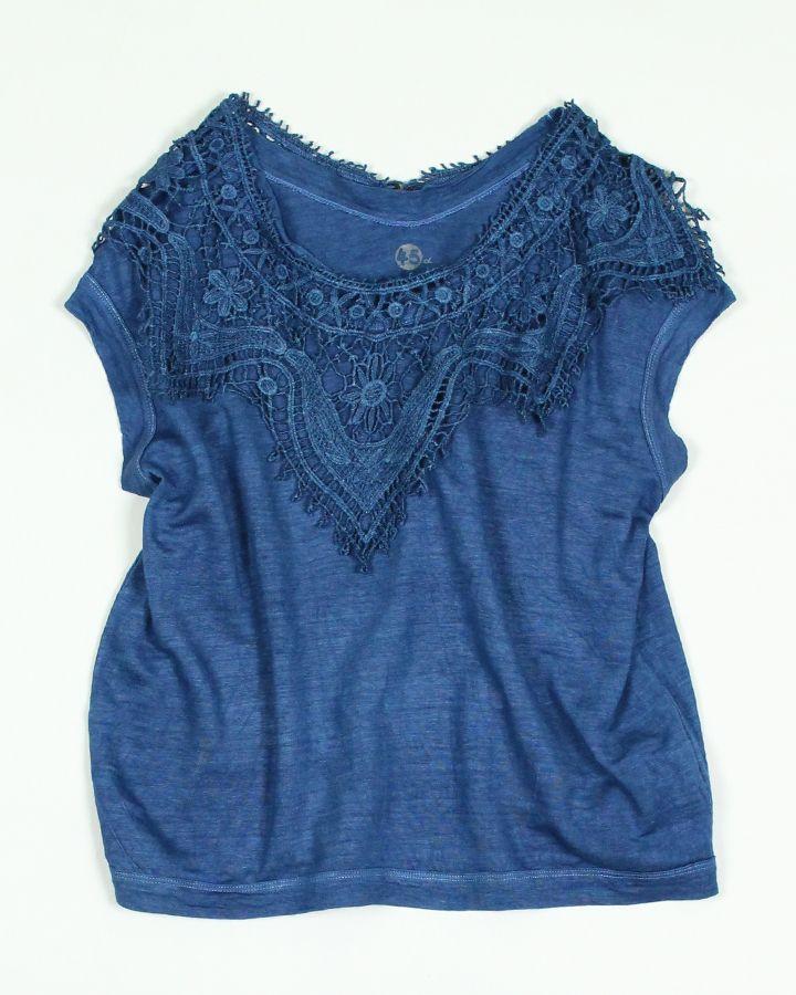 藍リネン天竺+レースTシャツ