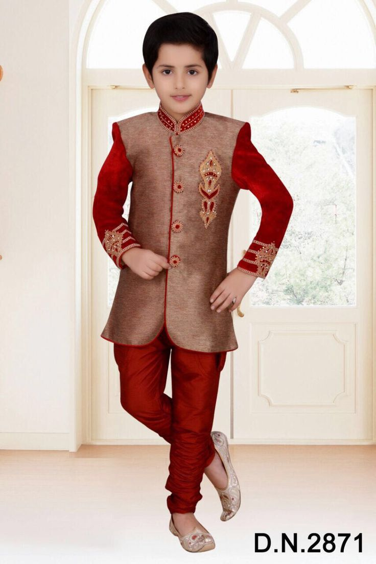 Gold Sherwani with hand work embroidery for Boys