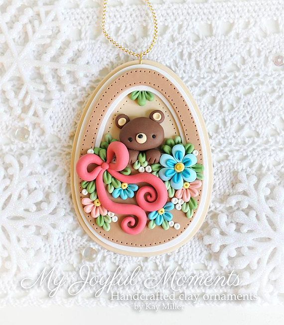 Handcrafted Polymer Clay Bear in Basket Ornament