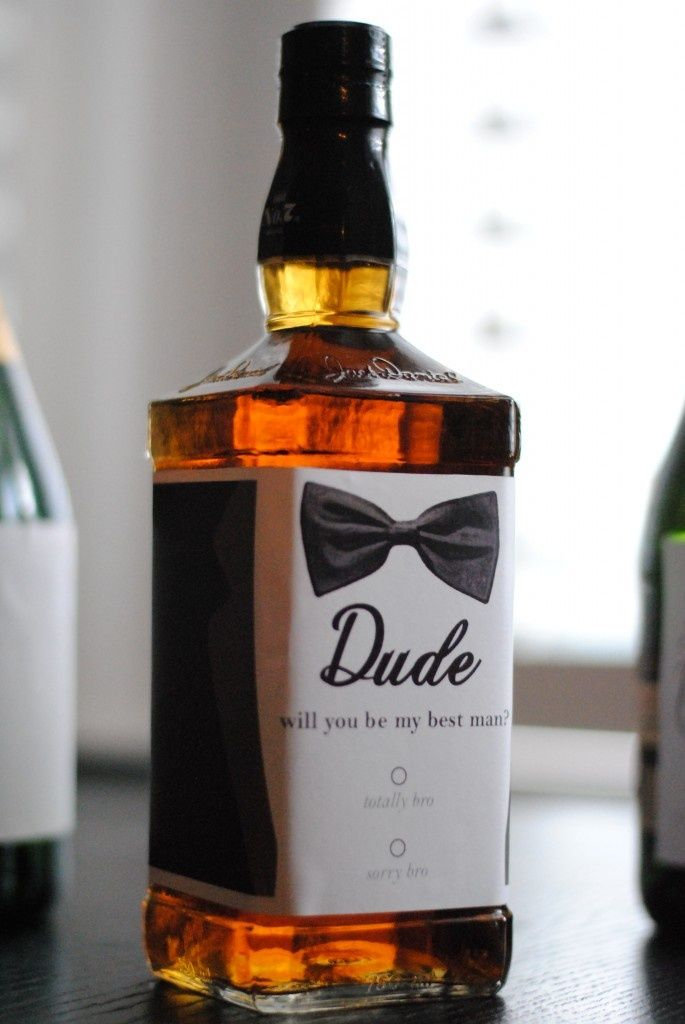 How to ask your bros to be your groomsmen/best man with a whiskey bottle. (Use champagne bottles for the bridesmaids & maid of honor!)