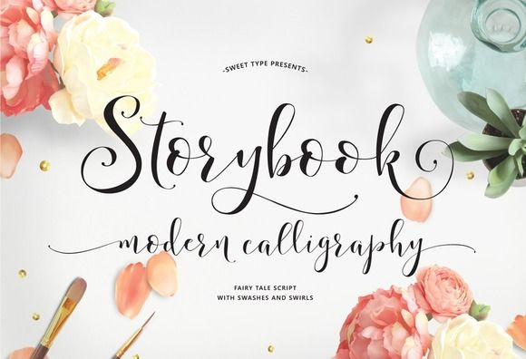 Meet Storybook! You asked for longer swashes and bigger swirls - so here they are. This fresh, warm, decorative hand-lettered typeface is perfect for weddings, logos, stationery & more!