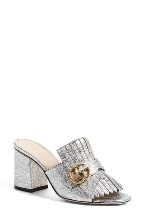 Gucci Marmont Peep Toe Kiltie Mule (Women)