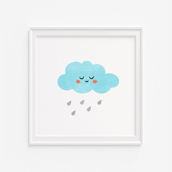 Cloud nursery wall art giclee print- graphic illustration-Modern kids room decor- (A-489)