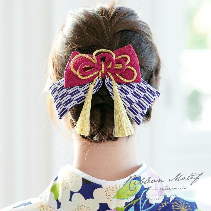 楽天市場 髪飾り リボン ピンクマゼンタ 紫 白 金色 りぼん 矢羽根