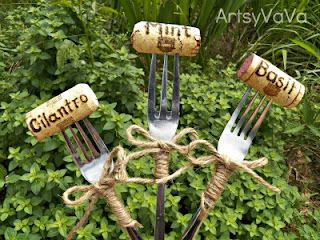 DIY PLANT MARKERS:: Cork & Fork Plant Markers :: just hammer the forks flat, use a wood burner to get your words on the cork & wrap with some twine. Too cute! Great gift idea for gardeners, too. | #corks #diy #gardening #repurpose #upcycle