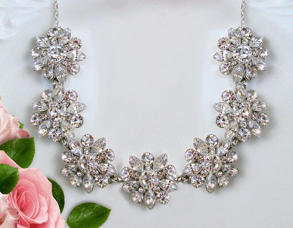 Bridal statement necklace Wedding Necklace Crystal Necklace