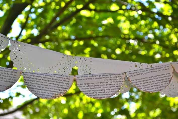 paper doily or vintage book string decor for parties.