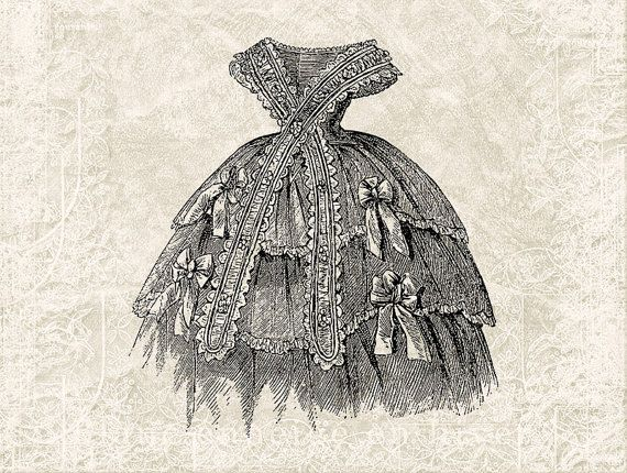Digital Victorian Dress Illustration Download - Vintage Dress ...