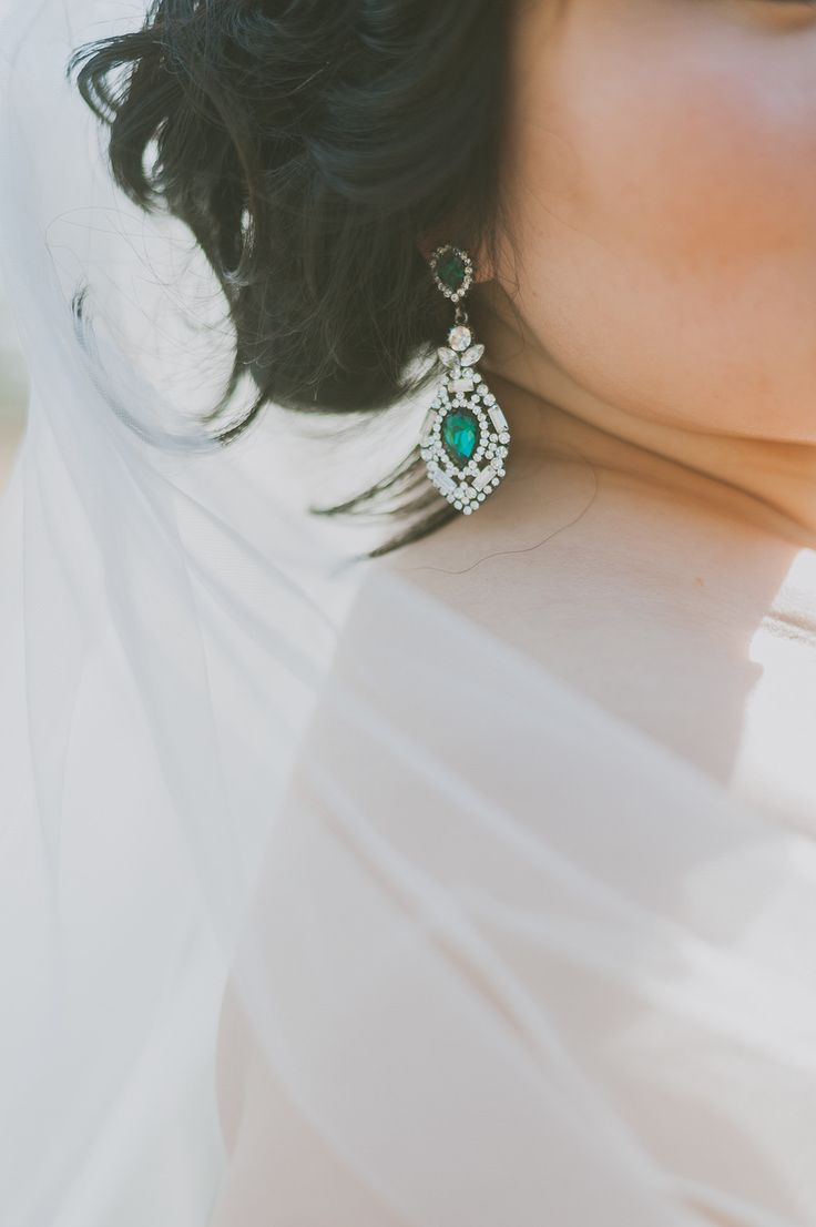 Gorgeous emerald earrings | Photography: Day 7 Photography - www.day7photography.com  Read More: http://www.stylemepretty.com/2014/05/29/despicable-me-themed-wedding/