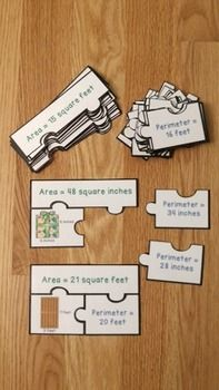 Area and Perimeter Game Puzzles are a valuable asset to any 3rd grade math classroom. This is a great resource for review, math centers, group work and for math interventions. This puzzle set includes 26 puzzles, answer key, and an optional center instruction page. Your students will love this perimeter and area activity!