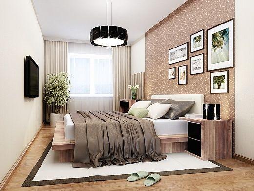Главным элементом любой спальни является кровать. Здесь, это – большая 2-спальная кровать из плиты МДФ, изголовье которой обито тканью. Из других предметов мебели имеется две прикроватных тумбы, трехдверный шкаф, комод для обуви, туалетный столик – все в одном стиле (под дерево).