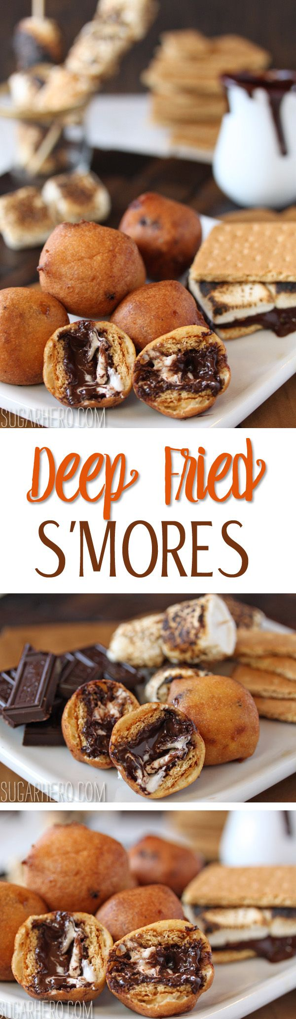 Deep Fried S'mores - the best new way to enjoy s'mores! With melted chocolate and marshmallows in every bite.   From SugarHero.com