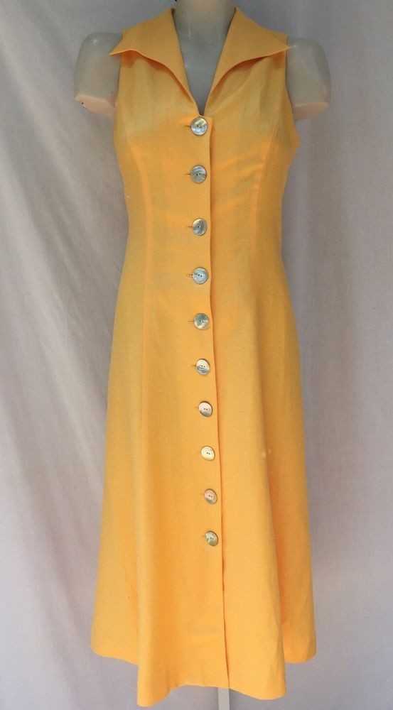 COLDWATER CREEK PETITE LINEN YELLOW FIT & FLARE LONG MAXI DRESS SZ 10 P10 NWT #ColdwaterCreek #Maxi #WeartoWork
