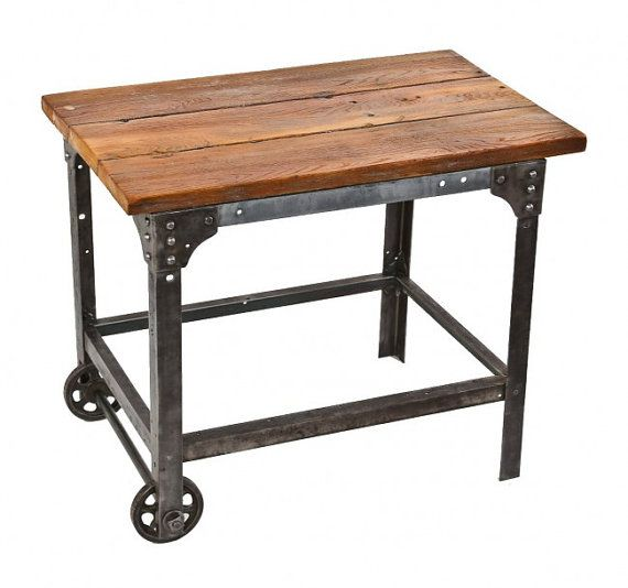 Rolling Kitchen Cart, Kitchen Island Cart Vintage Style, Reproduction,  Re Purposed Hardwood